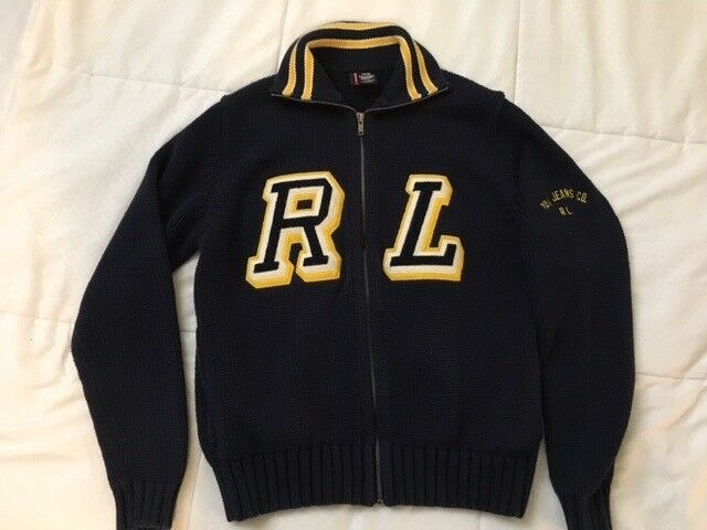 90s Vtg POLO RALPH LAUREN Small Full Zip RL Intarsia CARDIGAN VARSITY Sweater