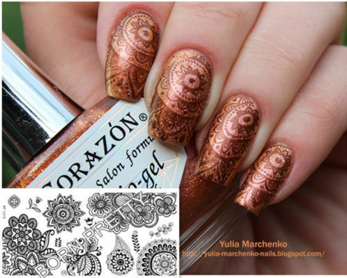 BORN PRETTY BP-L014 Nail Image Stamping Plate Nail Art Flower Stencil Template
