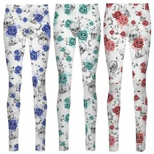 db13d0a5992ba2 New Women's Skull Flower Patterned High Waist Ankle Stretch Pants ...