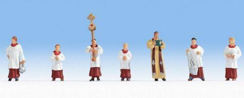 NOCH 15410 H0 Pfarrer und Ministranten Neu handbemalt 7 Figuren