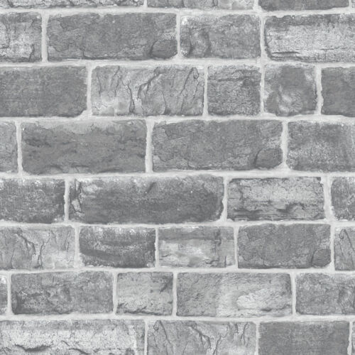 Grey Urban Faux Brick // Stone Feature Wall 217346 Luxury Wallpaper Rasch