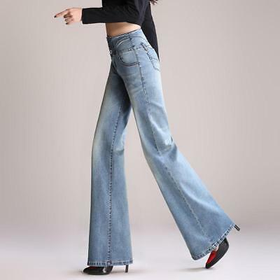 Chic womens high waist jeans wide leg Slim Fit casual pants trousers Fashion New   eBay
