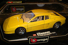 VERY RARE BURAGO 1-18TH LARGE SCALE FERRARI TESTAROSSA 1984 YELLOW  DISPLAYABLE