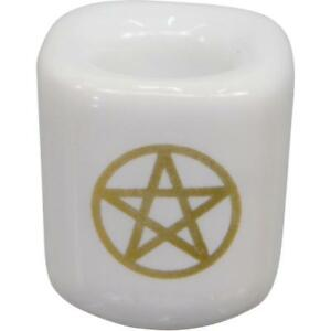 White Chime Candle Holder with Gold Pentacle!