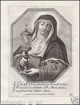 Saint Clare of Assisi - Klara Clara - Claire - 17th Century Engraving