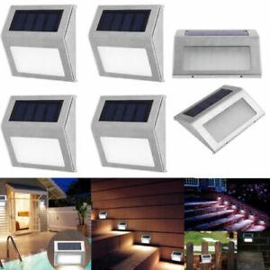 4-Stueck-Solar-3led-Edelstahl-Garten-Weg-Terrasse-Step-Treppe-Deck-Lampe-Licht