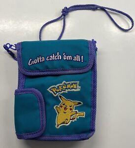 Vintage Pokemon Nintendo Game Boy Carrying Case Pikachu Teal Purple with Strap