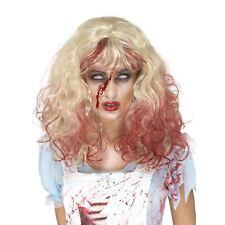 Horror Zombie Alice Wig Long Blonde Curly Blood Drip Ladies Halloween Fancy Dres