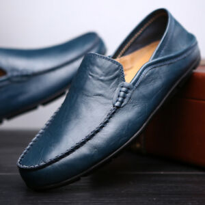 Mens-Casual-Shoes-Fashion-Driving-Boat-Shoes-Slip-On-Loafers-Cowhide-Shoes