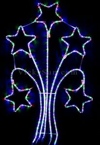Animated-140CM-LED-5-Meteor-Stars-Multi-Colours-Christmas-Motif-Rope-Lights