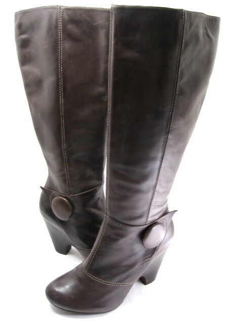 BIVIEL COUTURE WOMEN'S BVC039 KNEE-HIGH BUTTON BOOT T. Mgold MALAGA LEATHER SZ 39