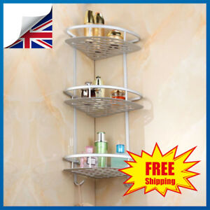 Details about 3 Tier Shower Bathroom Telescopic Shelf Corner Rack Organiser  Caddy Storage