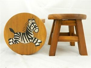 Childs childrens wooden stool chair zebra design step stool ebay