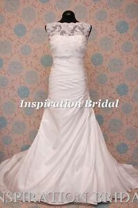 1595-White-Ivory-wedding-dress-A-line-gown-with-boat-neck-lace-jacket-Benita-NEW