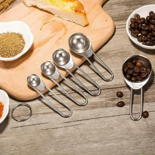 5 Stück Edelstahl Messlöffel Set Küchenutensilien Backen Kochwerkzeug U4H2