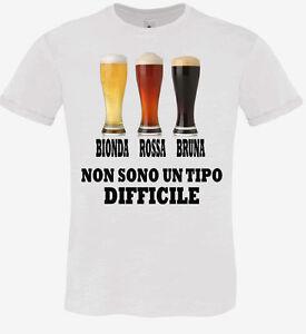 t shirt uomo divertenti  T-SHIRT UOMO HAPPINESS TSHIRT DIVERTENTE BIRRE BIONDA ROSSA BRUNA ...