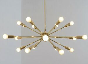 pretty nice 5f63d fc07c Details about Modern Sputnik Chandelier Brass Modernist Handmade Ceiling  Light Lamp