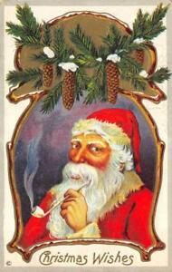 CHRISTMAS-WISHES-Santa-Claus-Smoking-Pipe-1912-Vintage-Greetings-Postcard