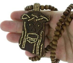 Details About Wooden Jesus Pendant Necklace Christ Face Bead With Cz Crystals 3 12 Long