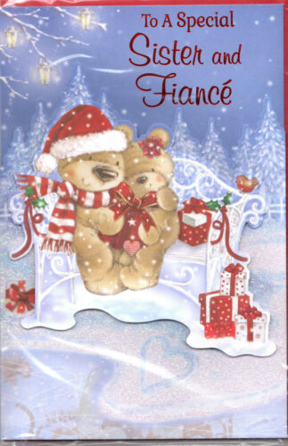 Sister & Fiance Christmas Card. To A Special Sister & Fiance Cute 3 Fold Card.