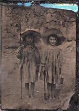 ORIG VICTORIAN Tintype / Ferrotype Photograph c1860's TWO YOUNG GIRLS AT SEASIDE