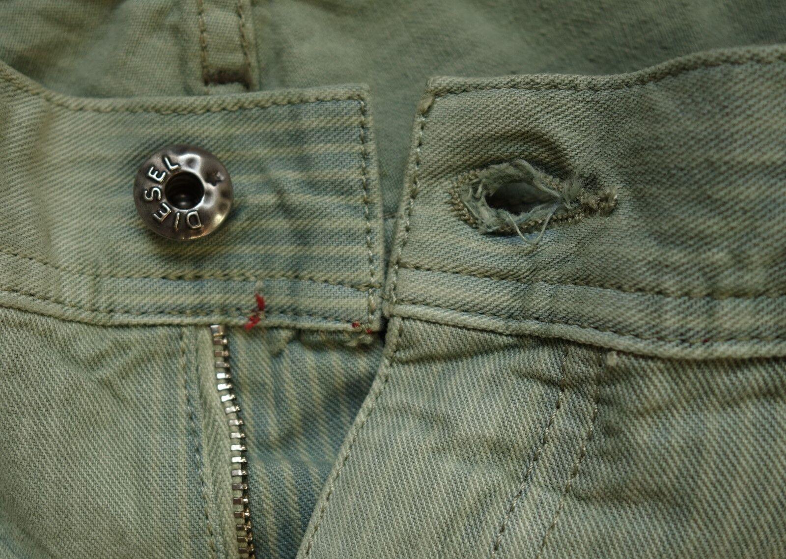 258 NEW Diesel Jeans FAITHLEGG Green W28 WAIST ACROSS15 x34 Reg. Straight ITALY