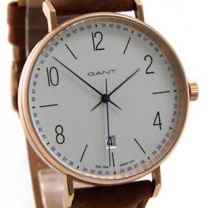 GANT-DETROIT-GT034001-Herren-Uhr-Datum-rose-Edelstahl-Leder-braun-TOP-gt-gt-gt-NEU