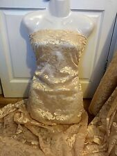 "1 MTR LIGHT GOLD SCALLOPED BRIDAL EMBROIDERED LACE NET FABRIC...52"" WIDE £9.99"