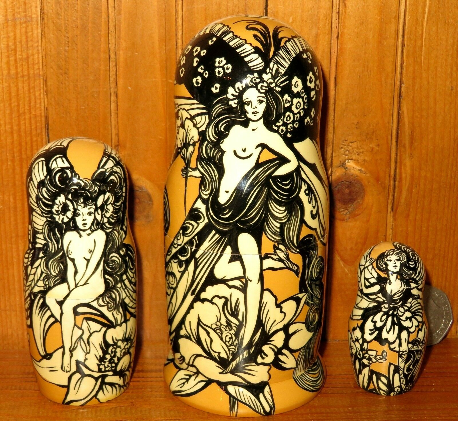 Nesting Russian Dolls Matryoshka Babushka 3 BUTTERFLY FAIRY GIRLS MAGIC signed