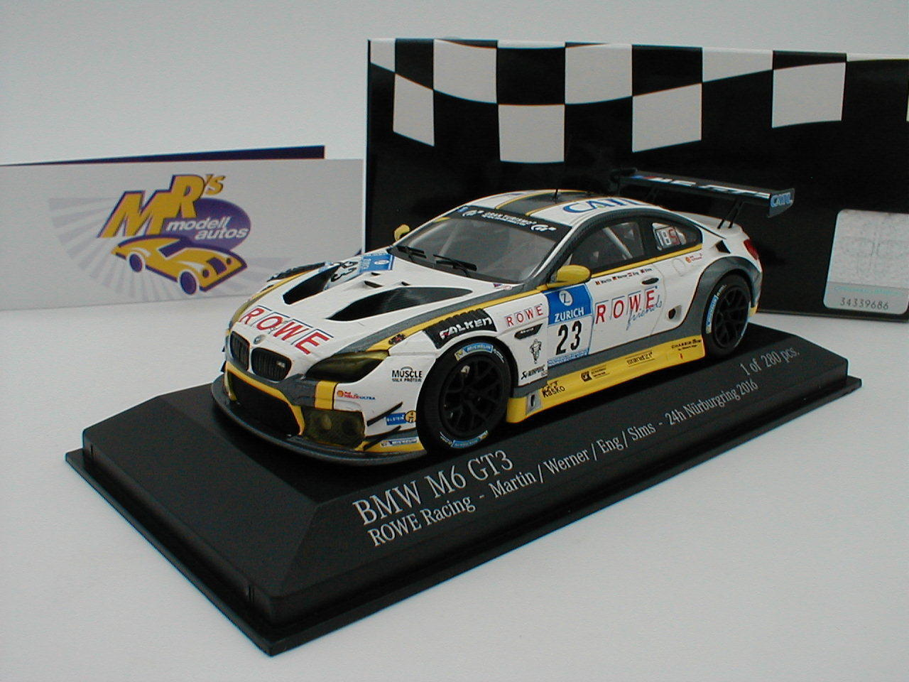 Minichamps 437162699-BMW m6 gt3 Rowe RACE 24h SPA 2016 Martin-Sims 1:43 NUOVO