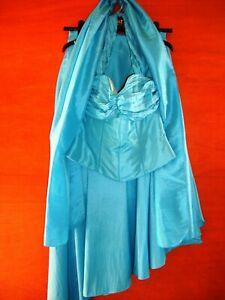 Frenchie Superbe Turquoise Long Bleu Jupe, Top & Châle Taille 12-pfk Charity-afficher Le Titre D'origine CoûT ModéRé