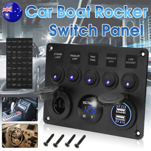 5-Gang-12V-Switch-Control-Panel-USB-Charger-ON-OFF-Toggle-for-Truck-Marine-Boat
