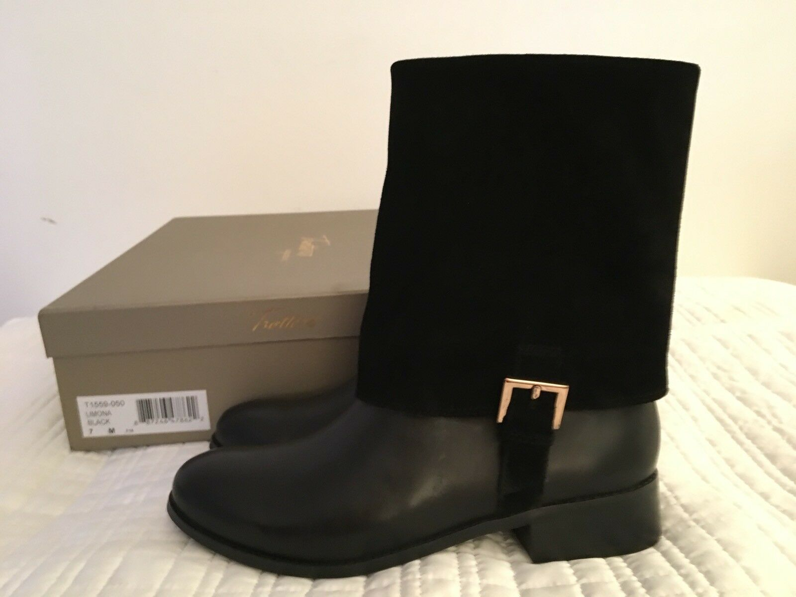 Trotters Womens Size 7 Black Midcalf Boots Limona
