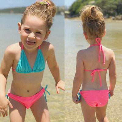 Toddler Kids Baby Girl Hit Color Swimsuit Swimwear Bathing Beachwear Bikini Set
