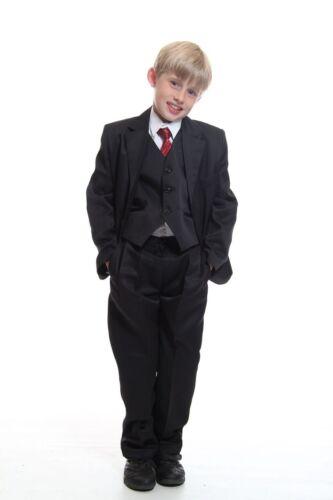 Boys 5 Piece Kids Formal Suit Black Ideal For Wedding Dinner Dress Age 1-16
