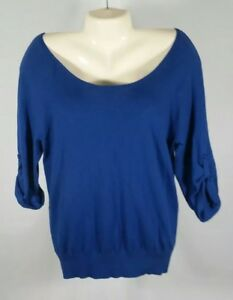 Ann Taylor Loft Womens Sweater Scoop Neck Rolled Up Sleeve Cotton