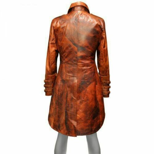 Men/'s Steampunk Goth Distressed Tan Real Leather Gothic Pirate Tailcoat
