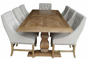 Elm-wood-French-Provincial-Pedestal-Dining-Table-with-6-Hennessy-chairs-setting
