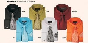 Men-039-s-High-Quality-Fashion-Dress-Shirt-withTie-amp-Hanky-and-French-Cuff-links-AH619