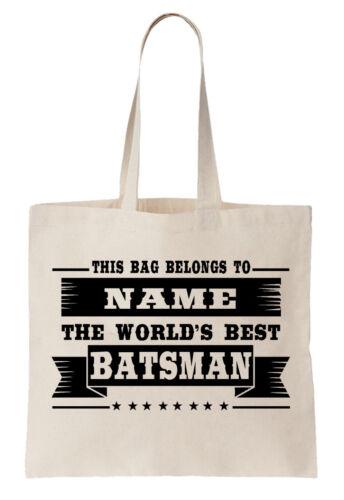 Personalizado Bolso Shopper World/'s Best bateador Bate De Cricket Deporte equipo de pruebas