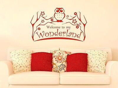 Wandtattoo Wandaufkleber Wand Deko Kinderzimmer Welcome Wonderland Eule