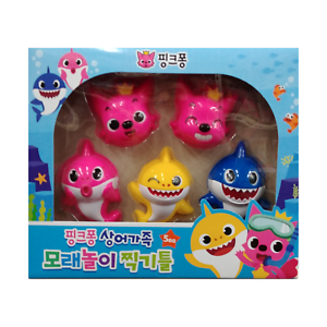 Pinkfong Baby Shark Family Sand Play Toy Shape Frame toys over 3yrs old 5pcs Kid