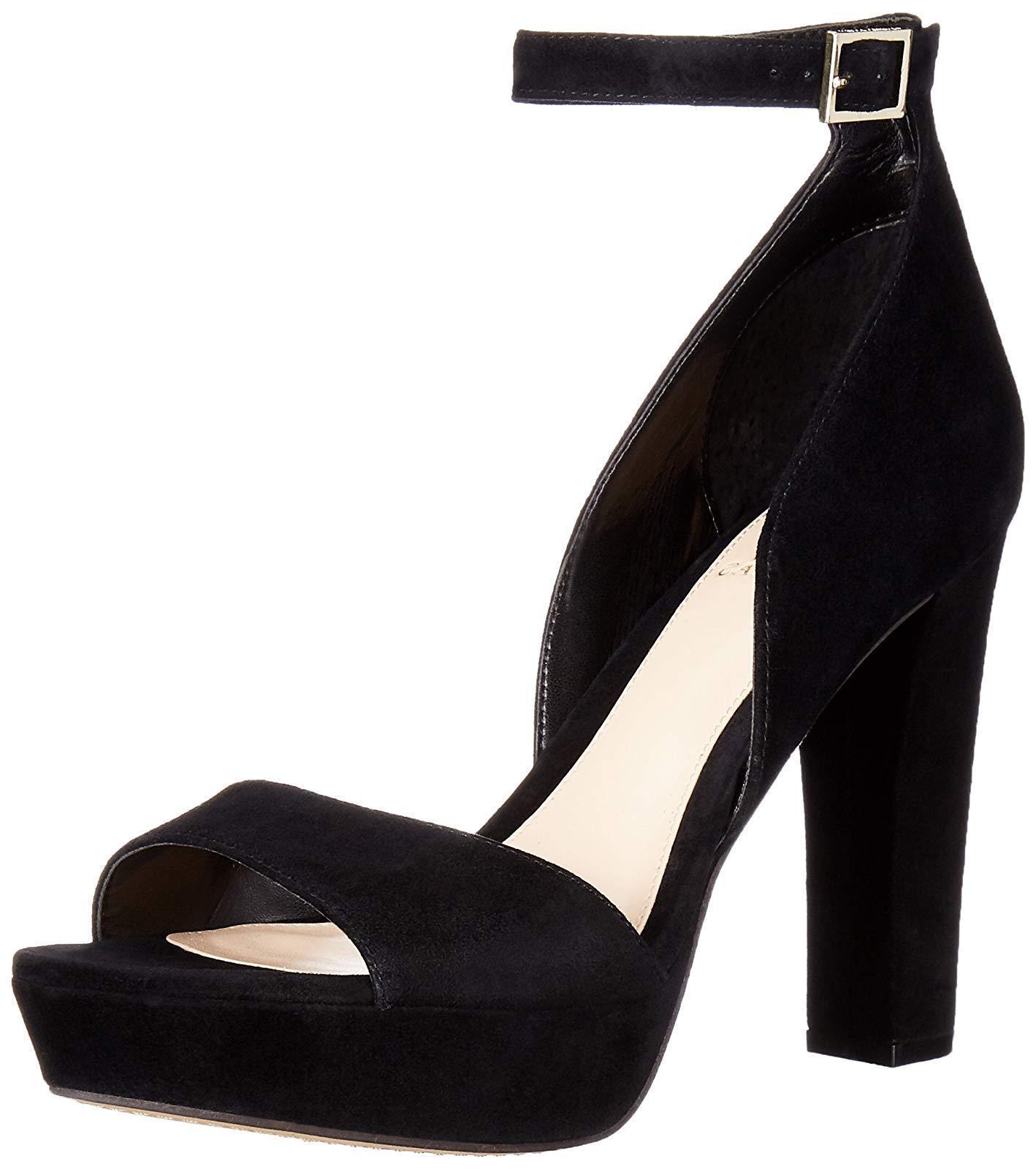 9.5M VINCE CAMUTO Sakari Black True Suede Sandals Open Toe Women Platform shoes