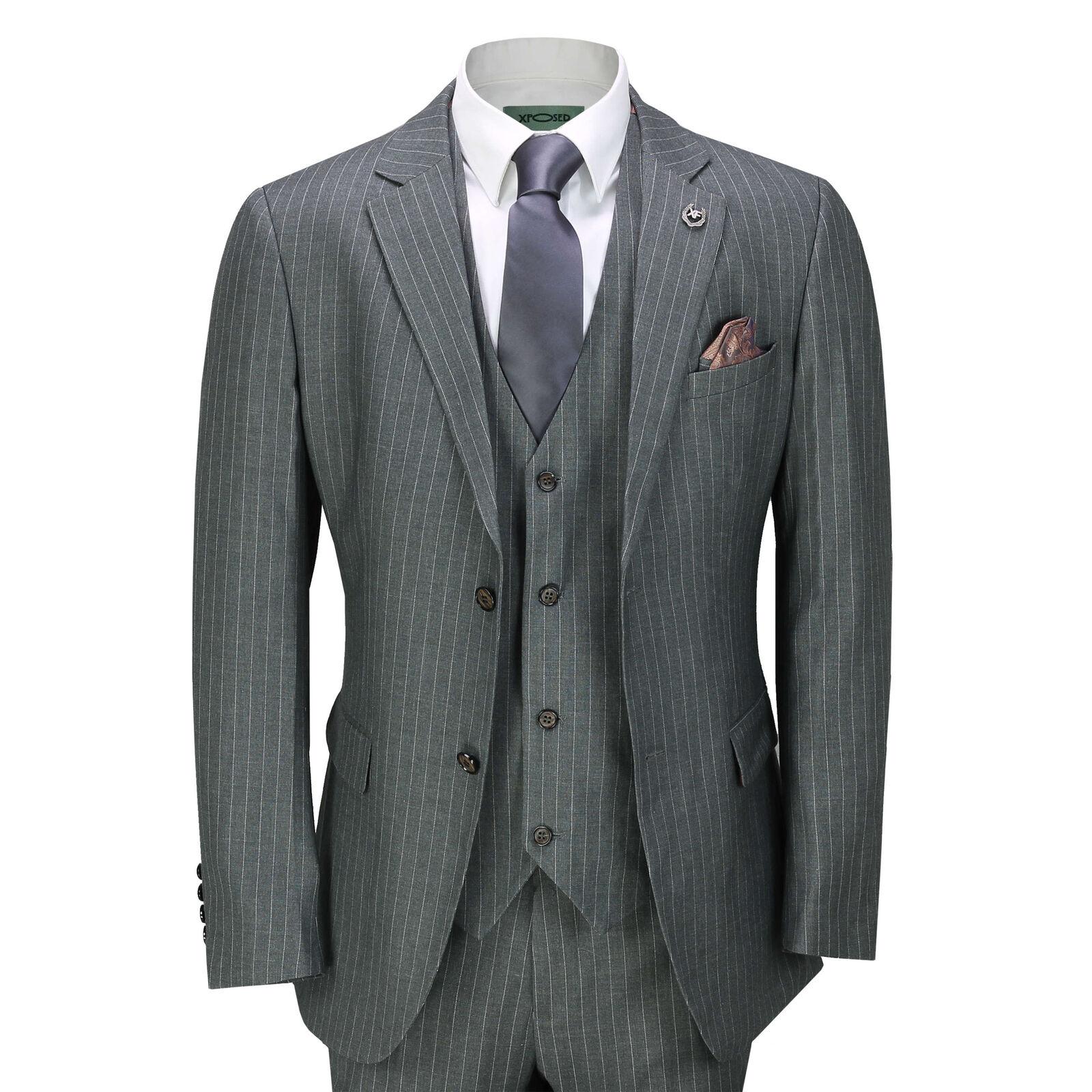 Mens Classic 3 Piece Pin Stripe Grey Suit Retro 1920s Smart Tailored Fit
