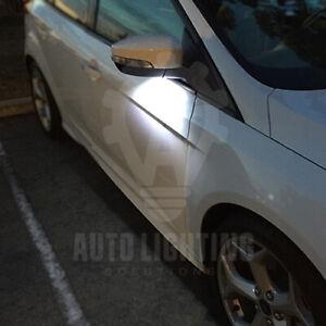 Para-Ford-Focus-MK3-Blanco-Espejo-LED-Charco-Cortesia-Bombillas-UPGRADE-Venta