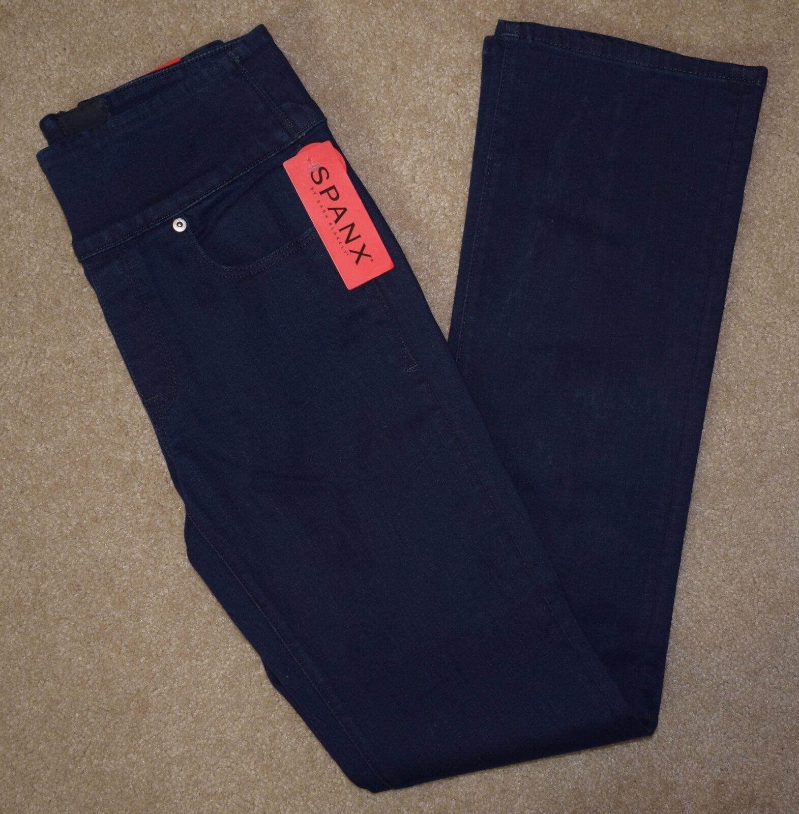 New Spanx Jeans 26 Signature Waist Slim Boot Cut Dark bluee Cotton Stretch