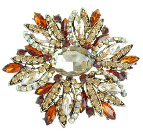 "Pretty 3.94/"" Marron Strass Cristal Teardrop Fleur Broche Broche Pendentif 04053C4"