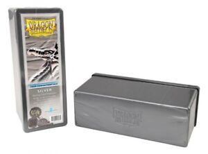 DRAGON-SHIELD-4-Compartment-STORAGE-BOX-Plateado-cartas-BOX