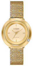 Citizen Eco-Drive Women's Ambiluna Champagne Dial Mesh 32mm Watch EM0642-52P