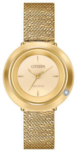 Citizen-Eco-Drive-Women-039-s-Ambiluna-Champagne-Dial-Mesh-32mm-Watch-EM0642-52P